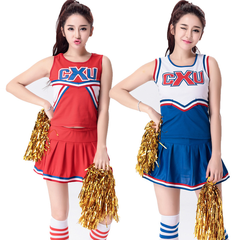 Football Cheerleader free shipping High School Cheer Musical Glee Cheerleader Costumes Outfit Girls Uniform Costume S-2XL