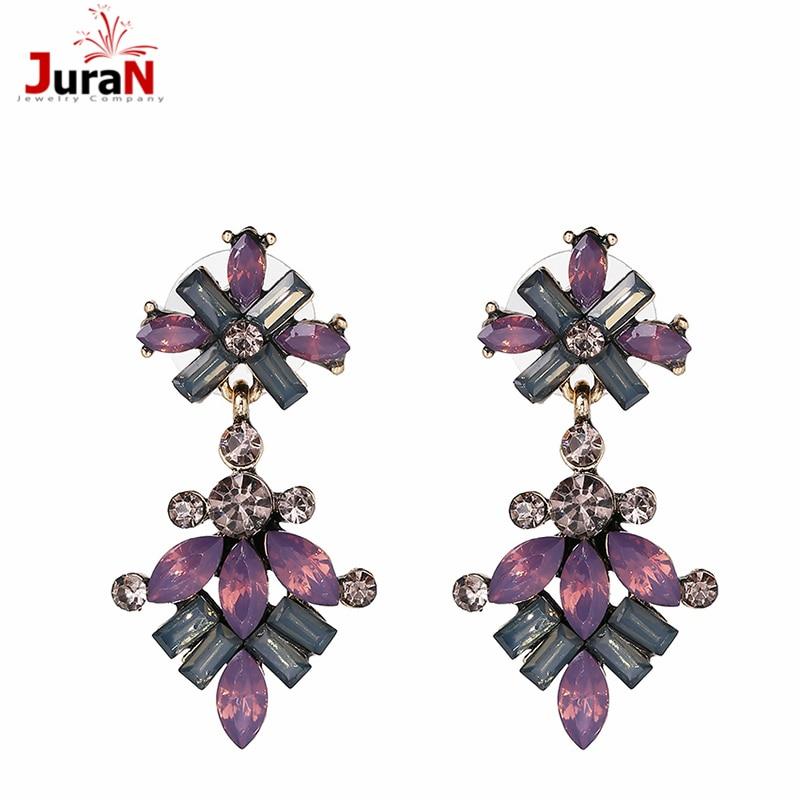 d42bb54778 JURAN Glass Rhinestone Earrings For Party Fashion Women Earring Brand Sweet  Metal Multicolor Gem 3 ...