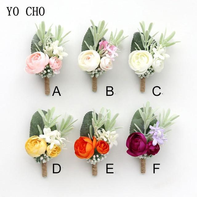 YO CHO Wedding Planner Boutonniere White Wrist Corsage Bracelet Bridal Flower Wedding Boutonniere for Guests Mariage Accessories 1