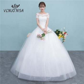 Custom Made New Style Elegant Lace Wedding Dress Fashion Simple O-Neck Appliques Sequins Ball Gown Plus Size Bridal Dress
