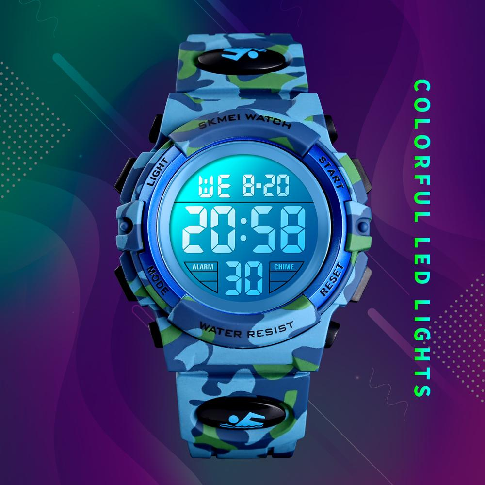 <font><b>SKMEI</b></font> Fashion Kids Watches Sport Children Wristwatch 5bar Waterproof Colorful Lights 12/24 Hour Camouflage Relogio Infantil Boy image