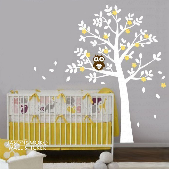 Rounded Leaf Tree with flowers and a owl wall decal tree ...