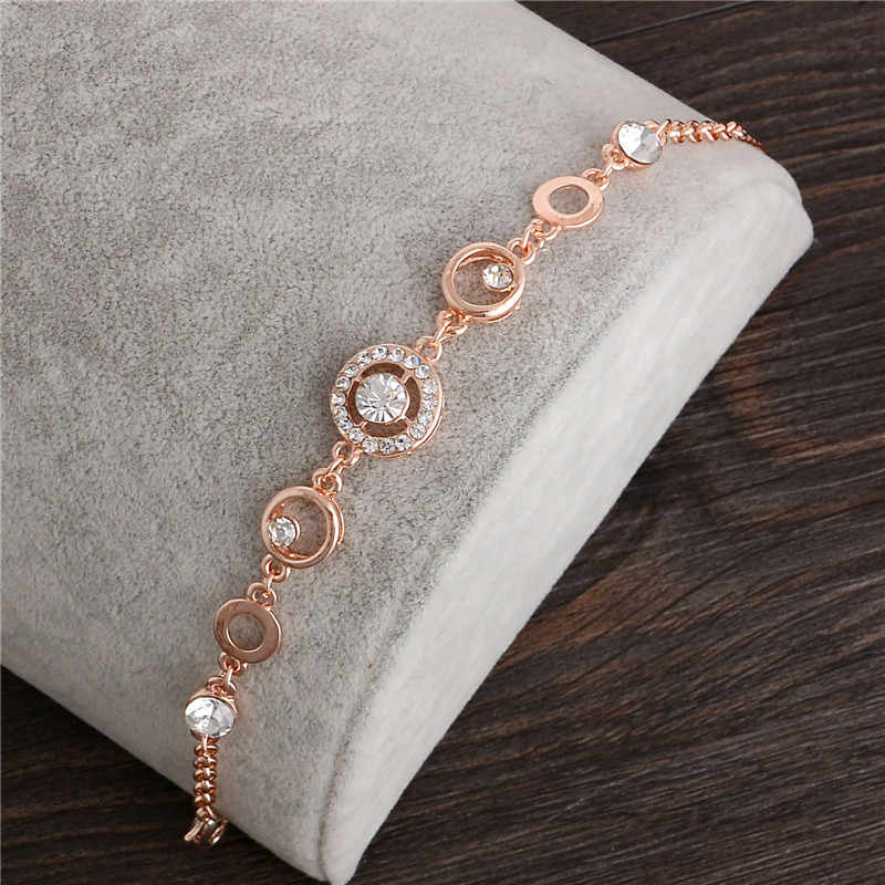 MINHIN Rose Gold Chain Bracelet For Women Crystal Wedding Jewelry Ladies Charm Wrist Bracelet Pulseras Wholesale Price