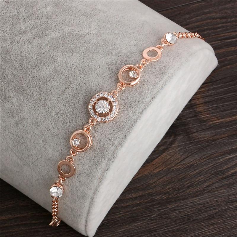 MINHIN Rose Gold Chain Bracelet For Women Crystal Wedding Jewelry Ladies Charm Wrist Bracelet Pulseras Wholesale Price(China)