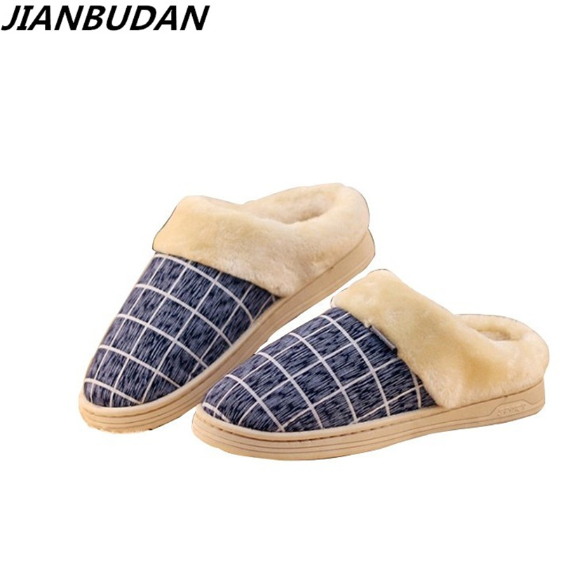 JIANBUDAN new cotton slippers for men and women lovers household slippers to keep warm shoes Winter non-slip soft slippers