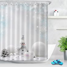 White Shower Curtains Christmas Ball Winter Luxury Washable Snowman Bathroom Curtain Fabric Polyester for Bathtub Decor(China)