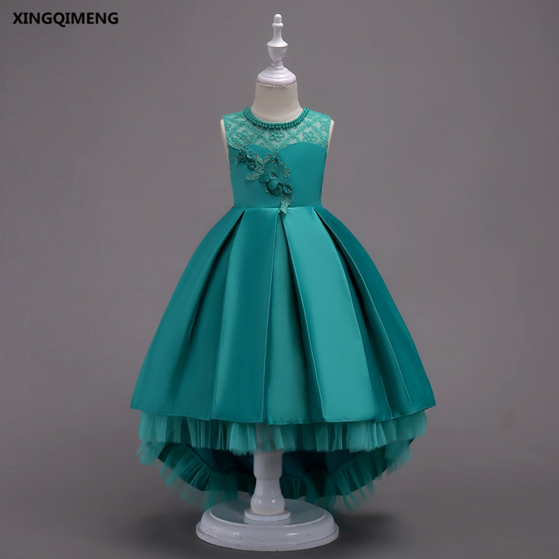 In Stock High Low Flower Girl Dresses 3-16Y Beaded First Holy Communion Dresses for Girls Bow Royal Blue Pageant Gowns