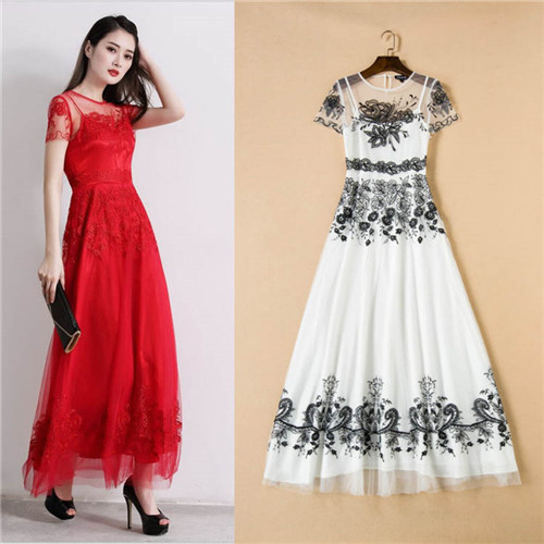 ladies runway long embroidery mesh dresses whtie red summer maxi dress uk  short sleeve ankle length frocks 2016 free shipping bbacd1fea