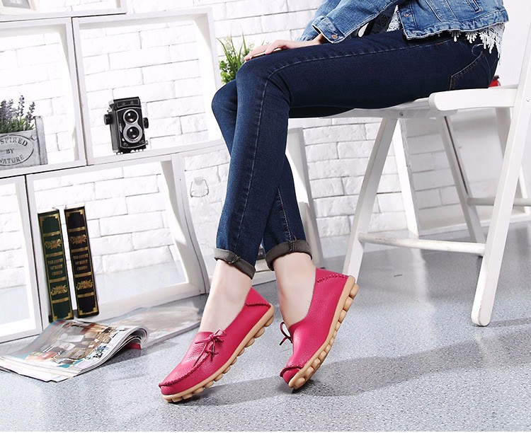 2016 New Real Leather Woman Flats Moccasins Mother Loafers Lacing Female Driving Casual Shoes In 16 Colors Size 34-44 ST179 (34)