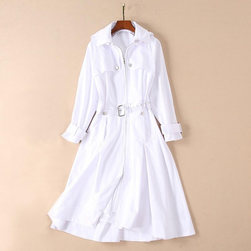 winter dresses women 2018 runway high quality woman clothes white dress button front zipper buckle belt