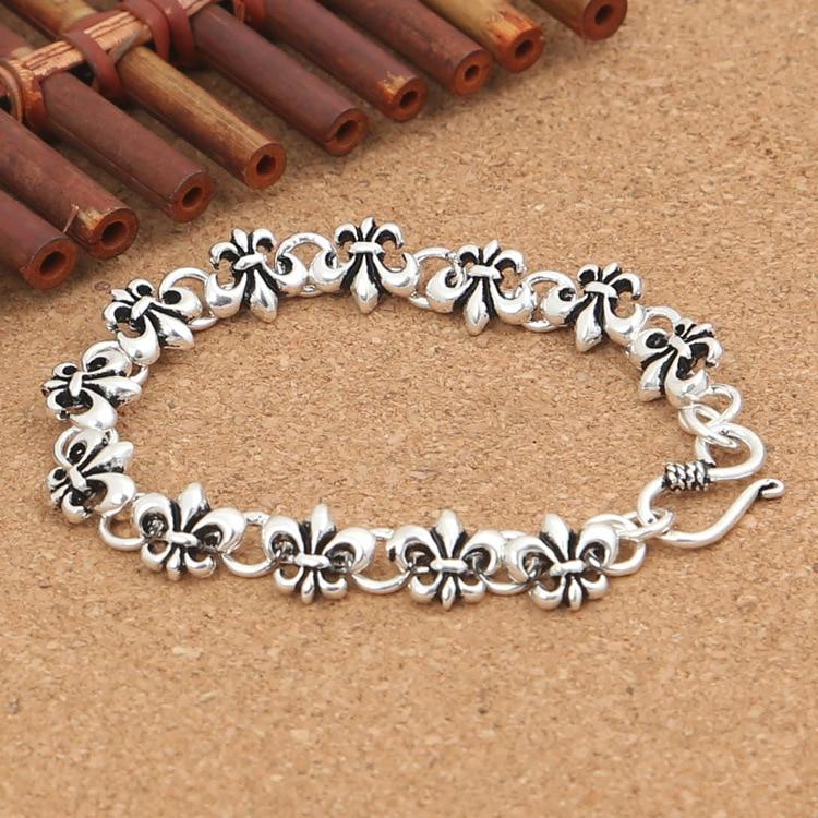 Wholesale S925 Sterling Silver Personalized cross series Series Anchor Models Men Women Fashion Thai Silver Fine Bracelet