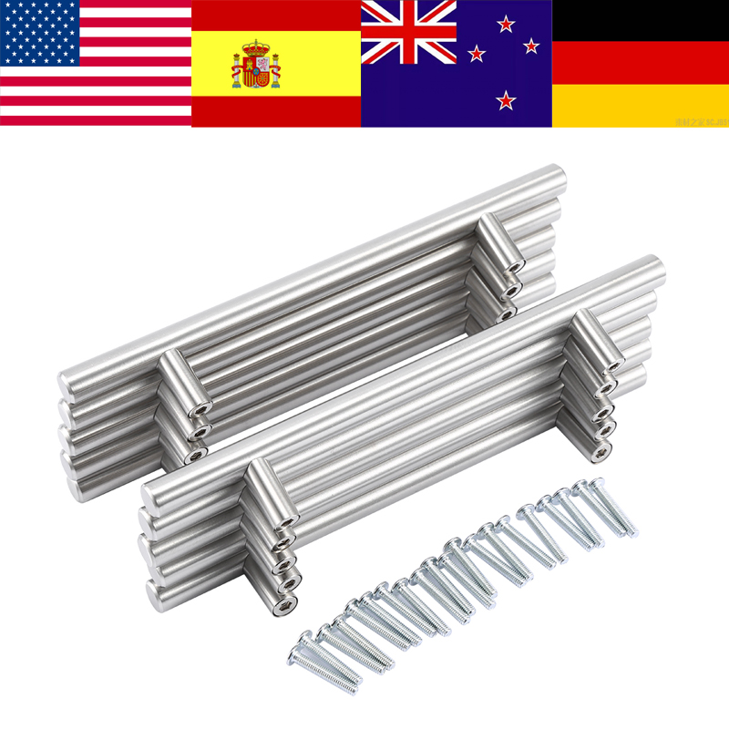 Brushed Stainless Steel T bar Handles Kitchen Cabinet Door Pulls Cupboard Handle handles vintage door handles for furniture fixed full overlay sus304 stainless steel damping hinge for kitchen bedroom living room cupboard door