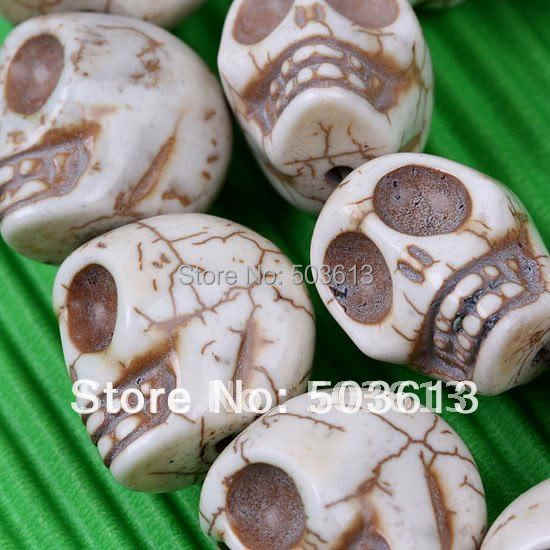 Fashion White Howlite stone Carved Skull Loose Beads 18*17*14mm One Stand tb1006