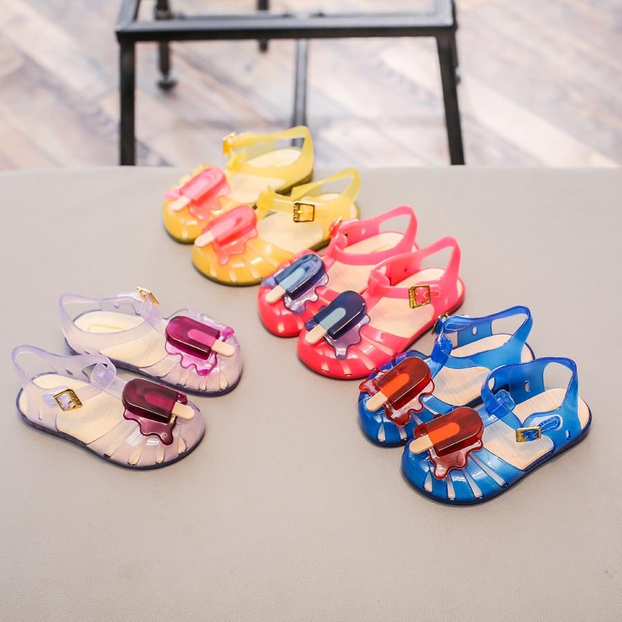 Mini Melissa Popsicles Jelly Sandals 2018 Children Shoes Melissa Girls Shoes PVC Kids Sandals Mini Melissa Girls Sandals