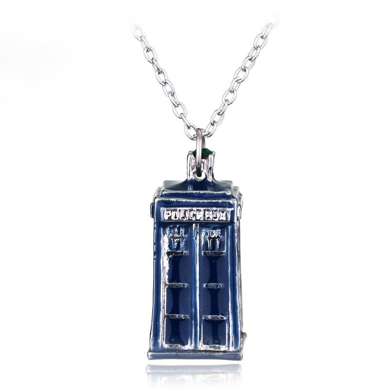 Doctor Who 3D Movie Tardis Police Box blue Colour Pendant Necklace