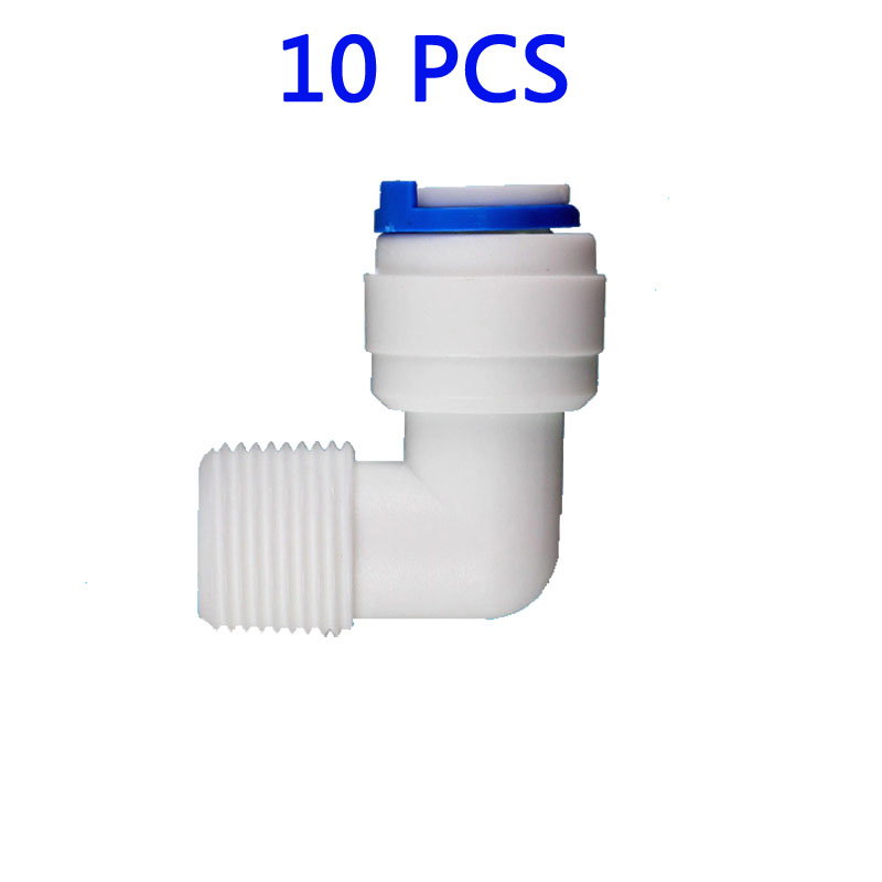 10 PCS 3/8 OD Hose Quick Connection 3/8 Pipe Elbow Union Connector RO Water Reverse Osmosis Aquarium System Connector Fitting 1 4 od tube tee type pe pipe fitting hose plastic quick connector aquarium ro water filter reverse osmosis system