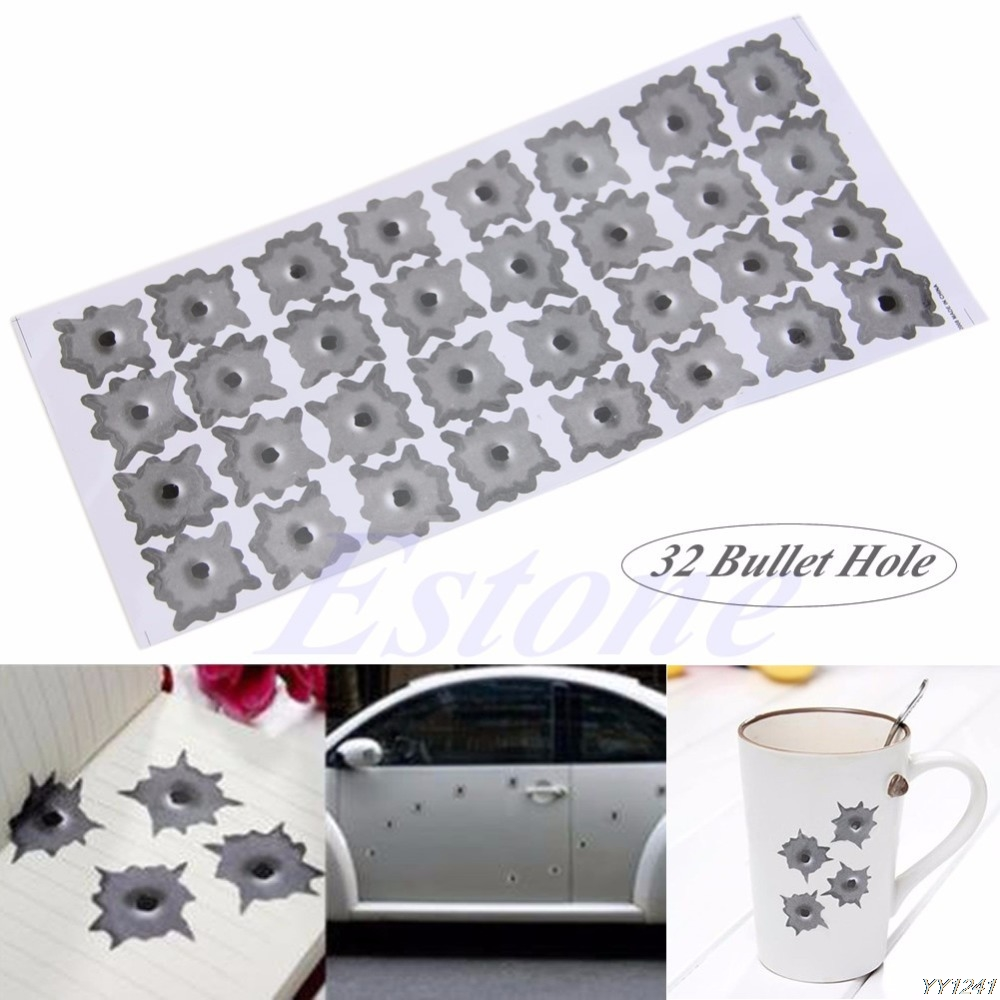 New Car-styling Cool 32 Bullet Hole Car Helmet Motobike Stickers Decals Cars Decoration