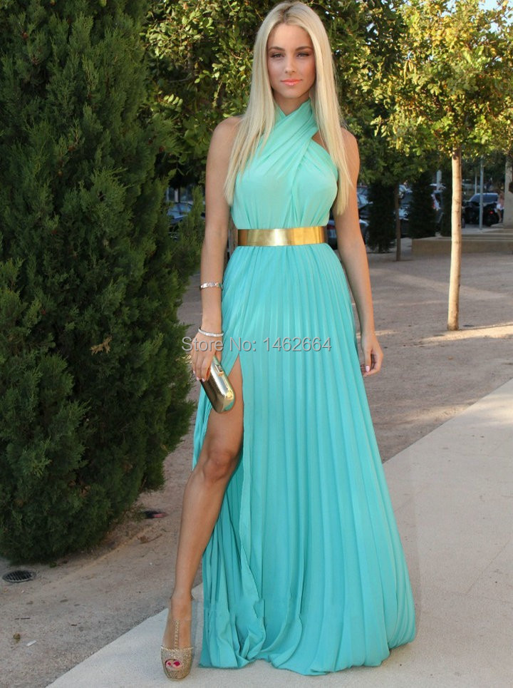Aliexpress.com : Buy Turquoise Chiffon With Gold Belt Prom Dress ...