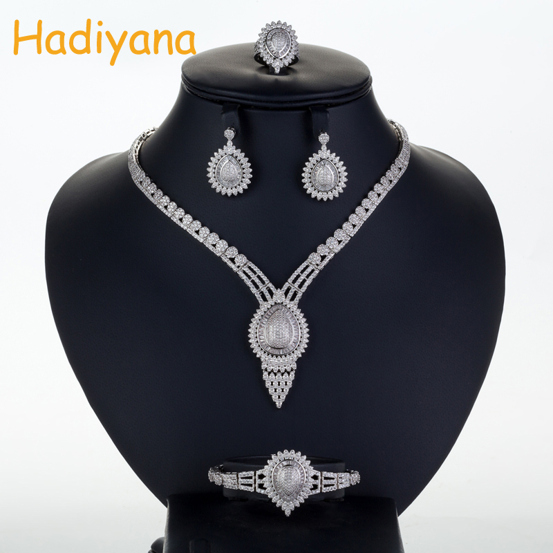 Hadiyana Luxury Bridal Wedding Jewelry Sets AAA CZ Classic Design Women 4pc Set Copper Engagement Ceremony And Anniversary CN279Hadiyana Luxury Bridal Wedding Jewelry Sets AAA CZ Classic Design Women 4pc Set Copper Engagement Ceremony And Anniversary CN279