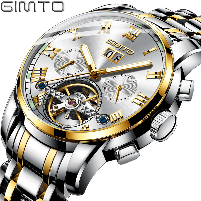 GIMTO 2019 Mens Automatic Mechanical Watches Men Stainless Steel Watch Gold Date Clock Waterproof Tourbillon Wristwatch + BoxGIMTO 2019 Mens Automatic Mechanical Watches Men Stainless Steel Watch Gold Date Clock Waterproof Tourbillon Wristwatch + Box