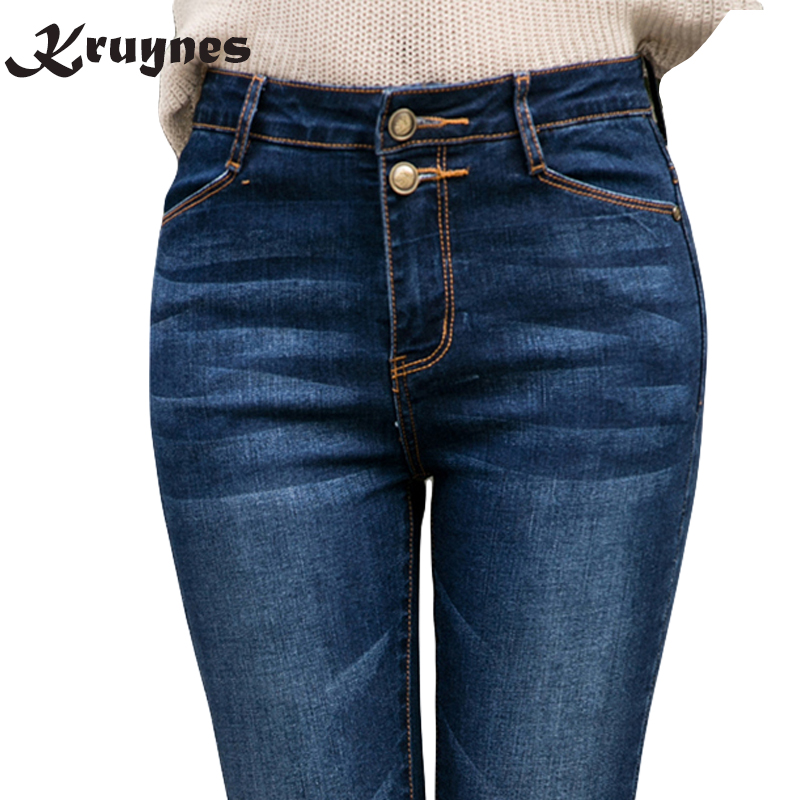 Big plus size women blue black jeans L-5XL denim pants winter autumn wear full length fashion push up jeans trousers female ленэн т надо бы