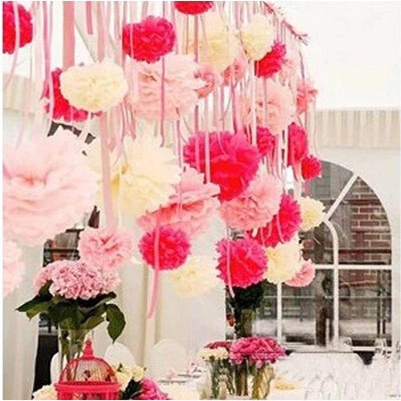 40cm Tissue Paper Pom Poms Handmade Artificial Flower Ball Cool Hanging Flower Ball Decorations