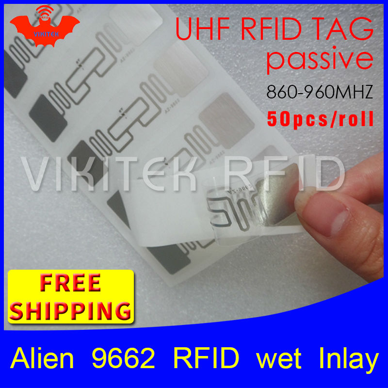 RFID tag UHF sticker Alien 9662 wet inlay 915mhz868mhz 860-960MHZ Higgs3 EPC 6C 50pcs free shipping adhesive passive RFID label 1000pcs long range rfid plastic seal tag alien h3 used for waste bin management and gas jar management