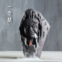 between good and evil violet arenaceous back censer Buddha there are mountain stream aroma stove ceramic little monks