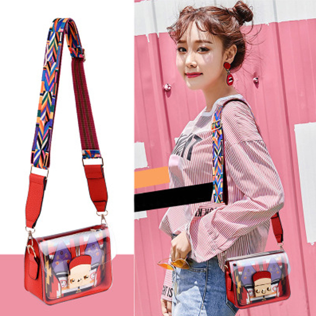BENVICHED 2019 summer new style small square bag geometry hit the color wide webbing single shoulder slanting transparent c015