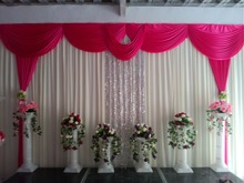 NEW Designed Wedding Backdrops with luxurious Rose carmine Swag for Wedding Decorations 3m 6m with sequin
