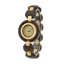 BEWELL W010A Small Wood Watch for Women Creative Female Bracelet Watch Handmade Unique Ladies Quartz Watch Fashion Brand Design