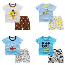 Summer Infant Baby Clothes Sets Unisex Outfits Cotton 2Pcs Baby Boys Clothes Summer Children Short Sleeve T Shirt Pants(China)