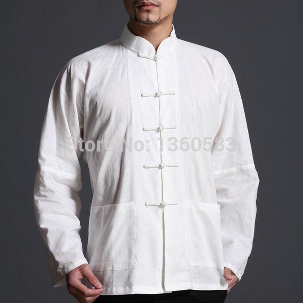 cbf548a44c Branco estilo Chinês Tradicional Kung fu de Algodão Dos Homens Camisa de  Manga Longa de Alta