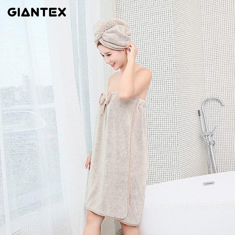 GIANTEX Mulheres Roupão De Banho Casa de Banho De Microfibra Toalhas De Banho para adultos Cabelo Conjunto Toalha guardanapo de bain badhanddoek toallas de ducha
