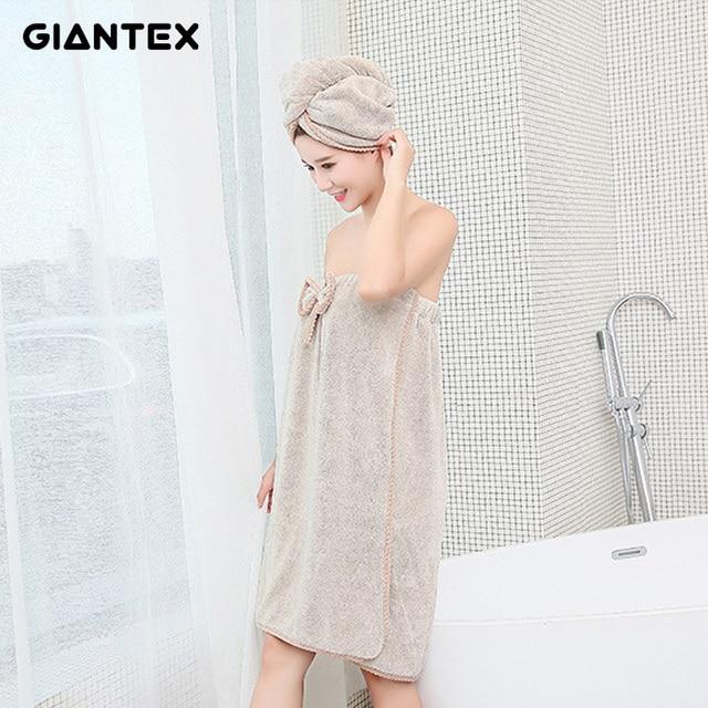 GIANTEX 女性浴室マイクロファイバーバスタオルバスローブ髪タオルセットナプキン · デ · ベイン toallas デ ducha badhanddoek