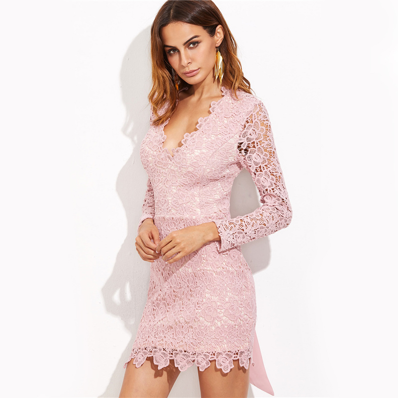 COLROVIE Vintage Lace Bow Tie Dress Sexy Open Back 2017 Women Elegant Pink Summer Party Dresses Long Sleeve Mini Bodycon Dress 9