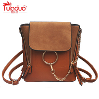 High Quality Scrub PU Leather Women Backpacks Fashion Chains Ladies Casual Daypacks Famous Brand Designer Double