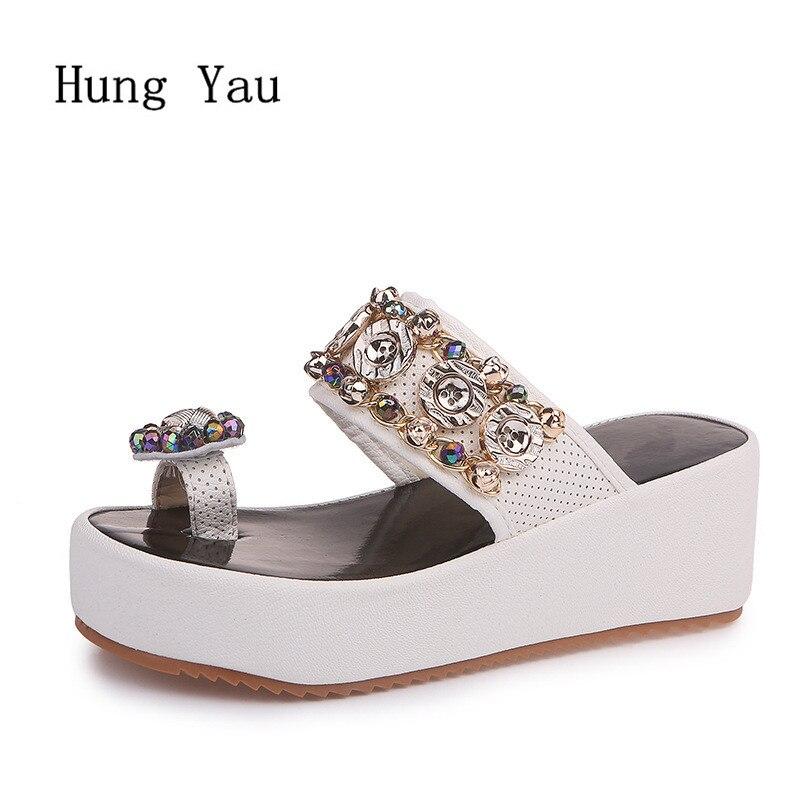 Summer Shoes Wedges Platform Flip-Flops Women Sandals Crystal Female Fashion Woman String-Bead