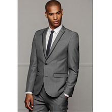 Fashion Design Men Suits for Wedding Grey Groom Tuxedos for Wedding Two Buttons Notch Lapel Custom Made (Jacket+Pants )