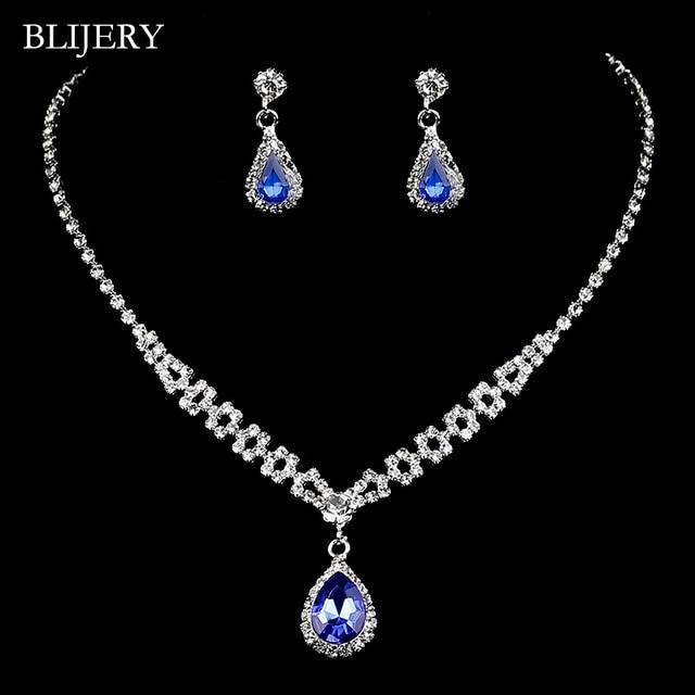 BLIJERY Royal Blue Crystal...