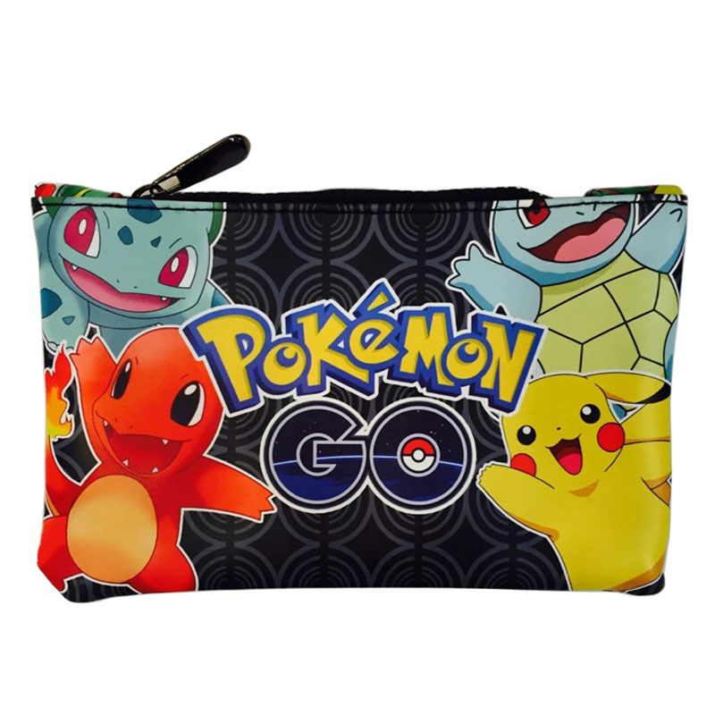 2018 Cartoon Anime Pen Wallets Pocket Monster Pokemon GO Pikachu Squirtle Pencil Case Box Makeup Pouch Bag Leather Coin Purse