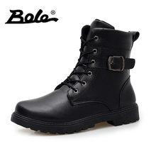 f9102368 BOLE hecho a mano hombres de cuero botas moda diseño resbalón hombres  botines Lace Up hombres zapatos casual estilo británico ho.