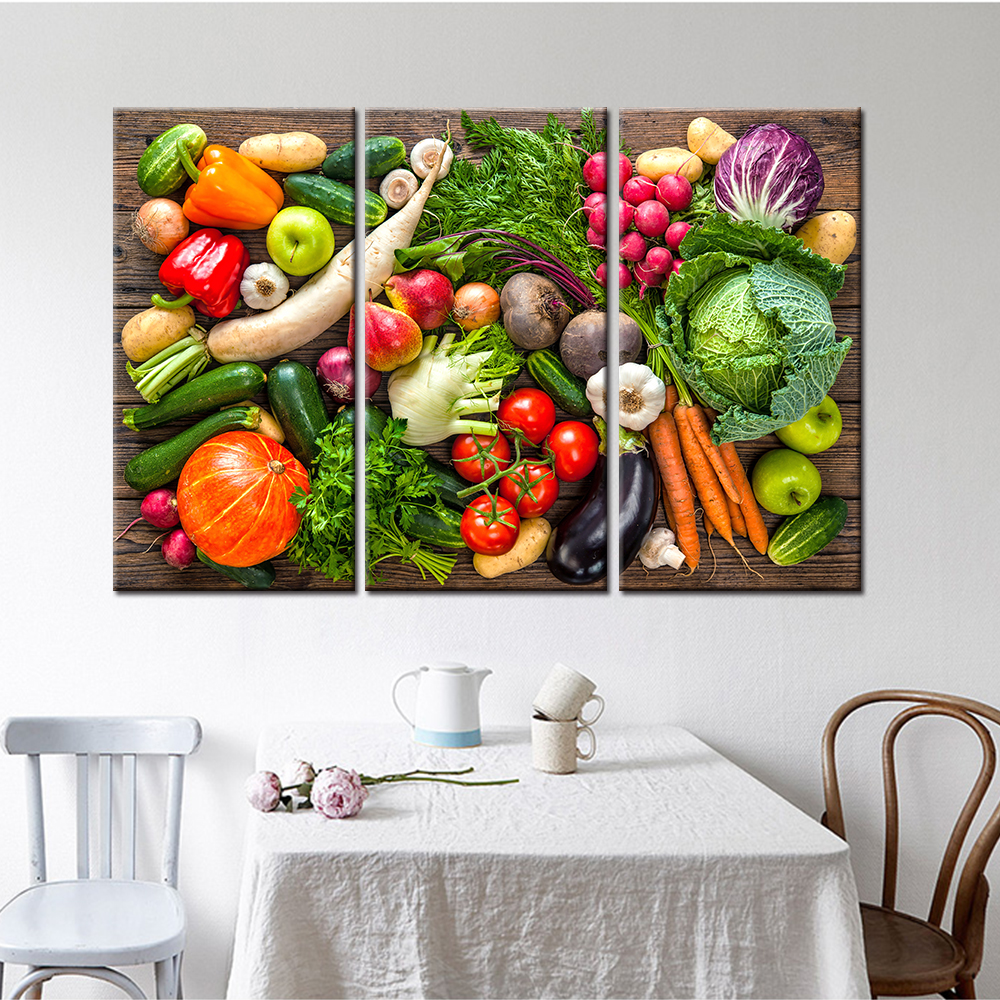 Decoration Pieces For Kitchen: Fresh Vegetables And Fruits Wall Art Picture Home