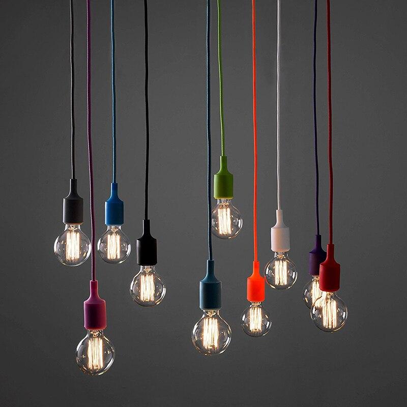FAI DA TE 13 colorful collocazione opzionale Silicone intrecciato corda singola testa moderno led lampadari a soffitto e27 cord breve barra luminosa