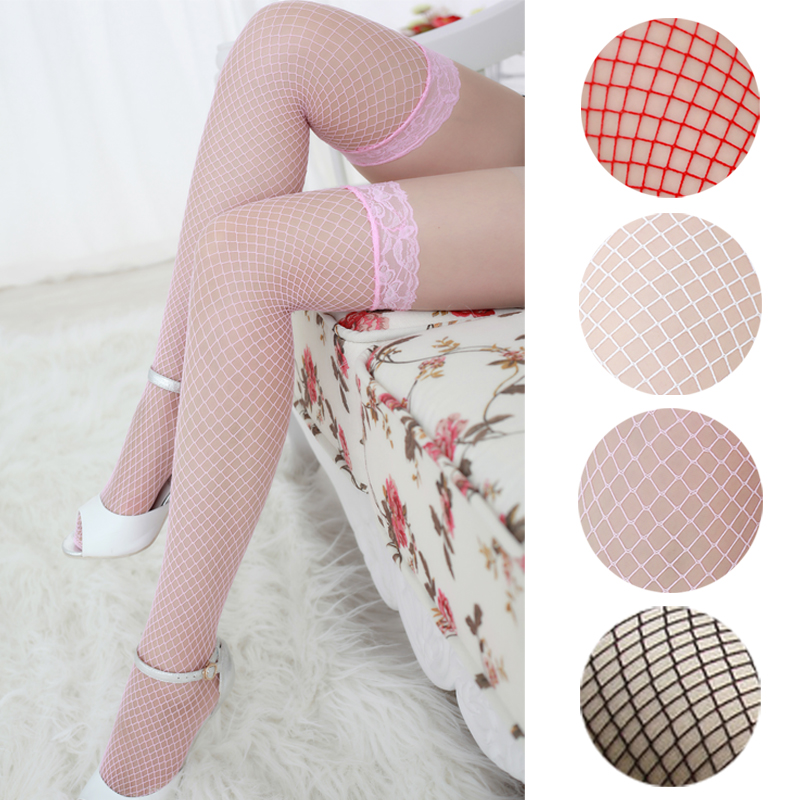Sexy Lace Top Fishnet Thigh High Stockings Women's Stockings Red Black White Pink Purple Colors Drop Ship