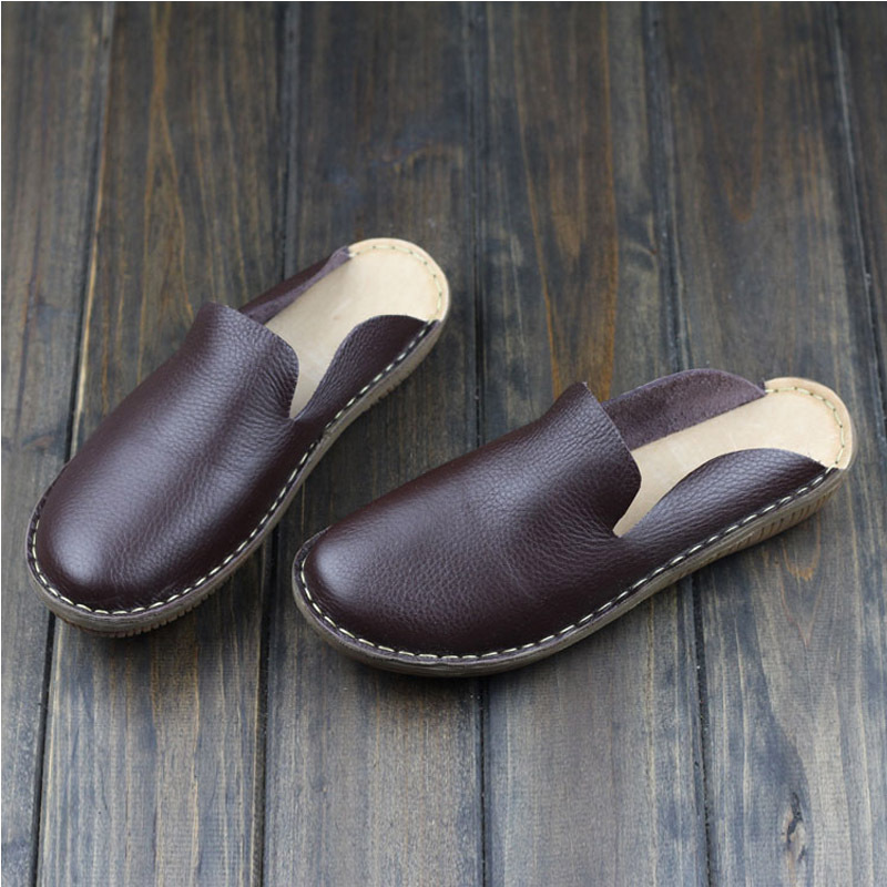 Women s Shoes Summer Slip On Flat Shoes Yellow Coffee Brown Genuine Leather Footwear Fashion Round