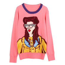 8a4f628be 2018 New Pullover Sweater Women Runway Designer Beading Cartoon Glasses  Girl Pattern Basic Autumn Winter Knitwear