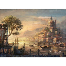 RIHE Riverside Town Painting By Numberskit for adults, Frameless Pictures, Handpainted On Canvas DIY Oil Paint Numbers