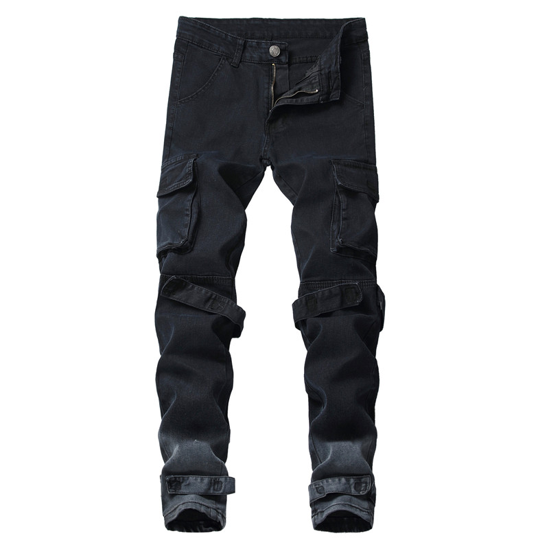 MORUANCLE Men's Casual Cargo   Jeans   Pants With Big Pockets Straight Tactical Denim Trousers For Male Black Size 28-40