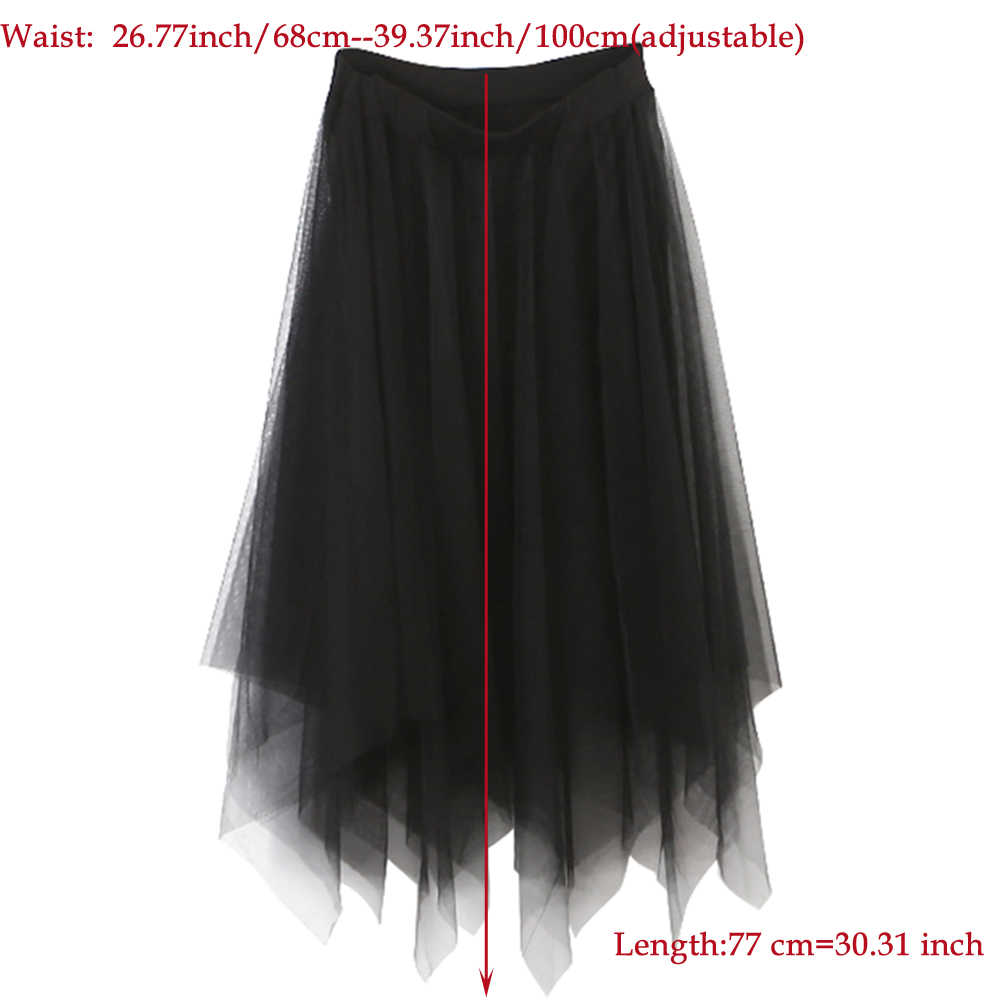 cfd9468b7b ... Tulle Skirts Womens Fashion Elastic High Waist mesh Tutu Skirt White  Black Gray long skirts Midi ...